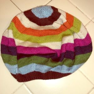 NWOT coach colorful striped beret